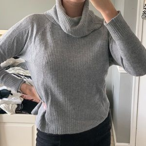 Thin knit grey cowl neck sweater